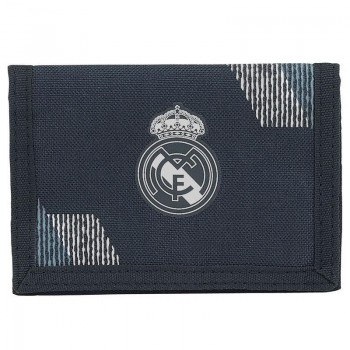 Cartera billetera REAL MADRID con velcro 12,5 x 9,5 cm. negro